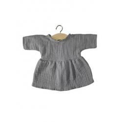 Robe Faustine coton double gaze gris chiné - Minikane - Par Monts et Par Vaux