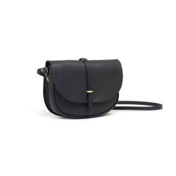 Mini sac postier java, noir - 3/4 gauche bandoulière