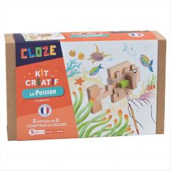Poisson en bois à construire - Cloze - Par Monts et Par Vaux - packaging