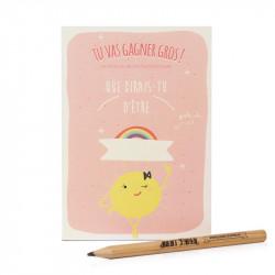 carte postale à gratter rose