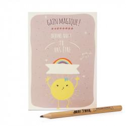 Carte postale à gratter magique prune