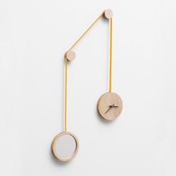 Horloge miroir pendule jaune - Drugeot - Par Monts et Par Vaux