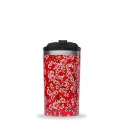 Travel mug flowers rouge - Qwetch - Par Monts et Par Vaux - face