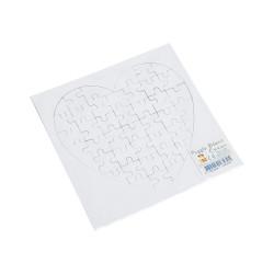 Carte puzzle blanc cœur, Marc Vidal - face