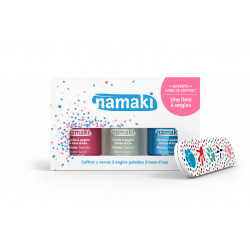Coffret 3 vernis : rose-blanc-bleu ciel + lime Namaki vue 1