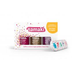Coffret 3 vernis : framboise-or-fuchsia + lime Namaki vue 1