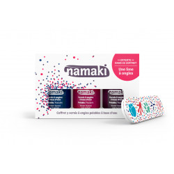 Coffret 3 vernis : bleu nuit-griotte-prune + lime, Namaki vue 1